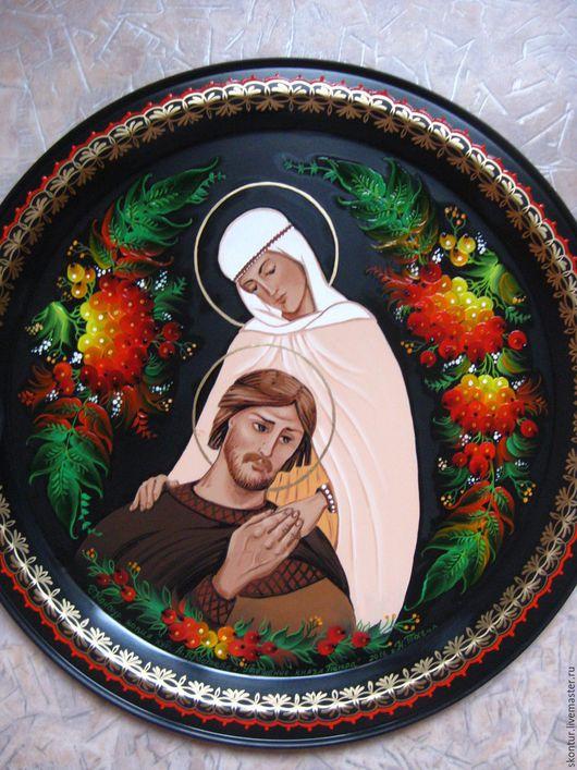 Прекрасный подарок ко дню любви и верности! поднос `Святые Пётр и Феврония Муромские`