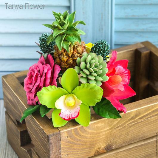 Букеты ручной работы. Ярмарка Мастеров - ручная работа. Купить Тропический букет цветов с ананасом. Handmade. Tanya flower