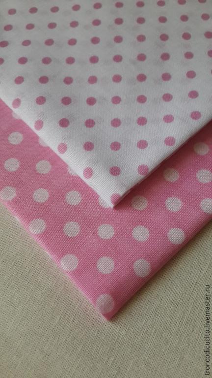 Шитье ручной работы. Ярмарка Мастеров - ручная работа. Купить Набор ткани для творчества в горох. Handmade. Розовый, ткань