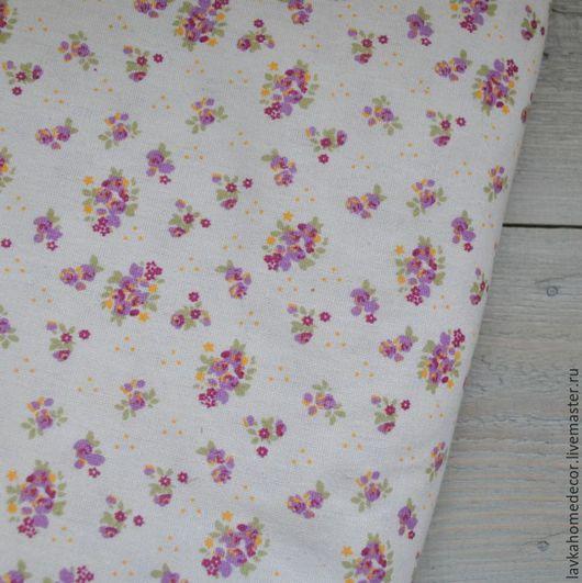 Лен натуральный Мелкоцвет лиловый, 50х50см, 2554
