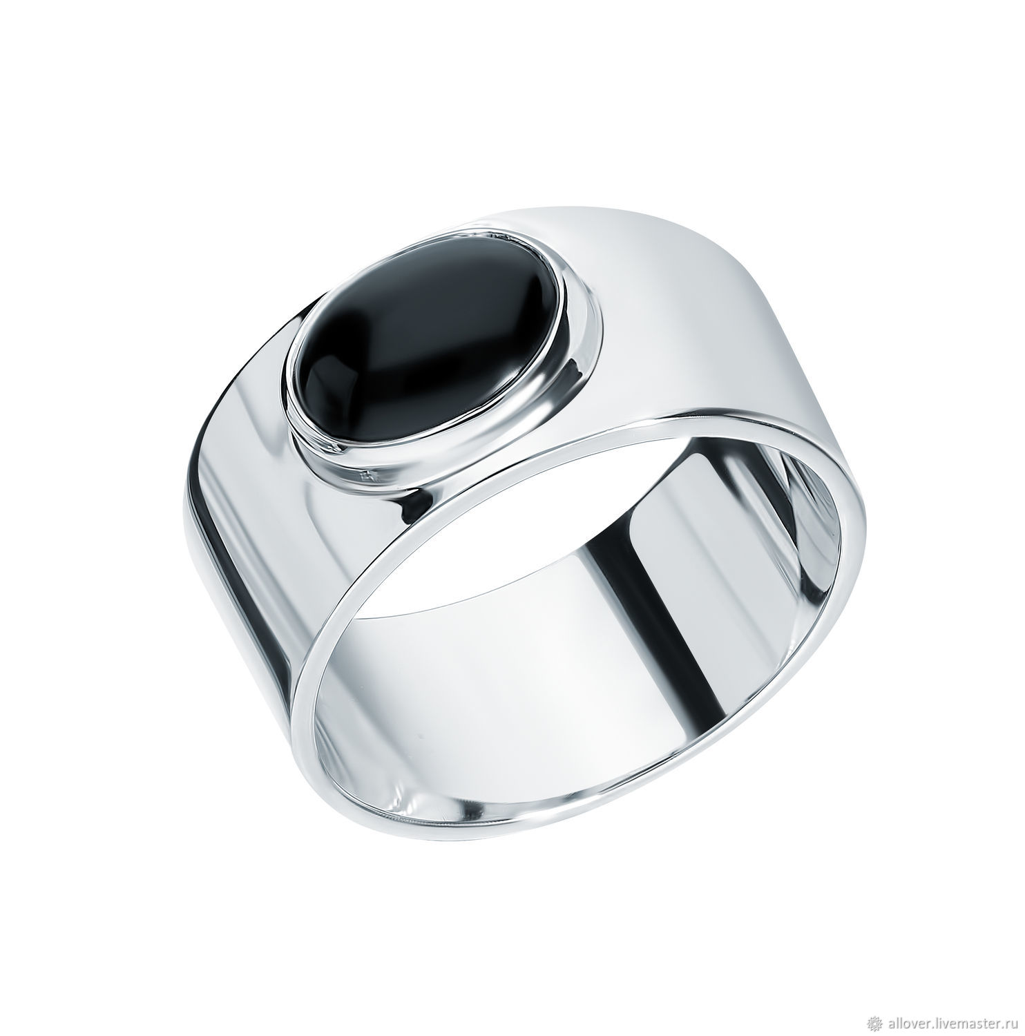 Wide ring with natural black agate stone, Rings, Moscow,  Фото №1