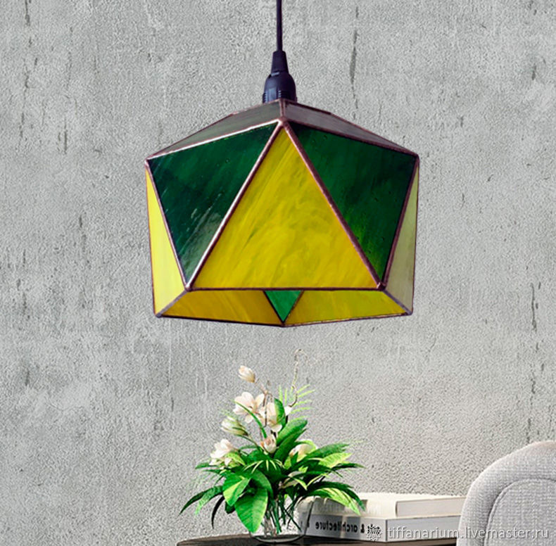 Suspended stained glass Geometric Lamp Icosahedron, Ceiling and pendant lights, Magnitogorsk,  Фото №1