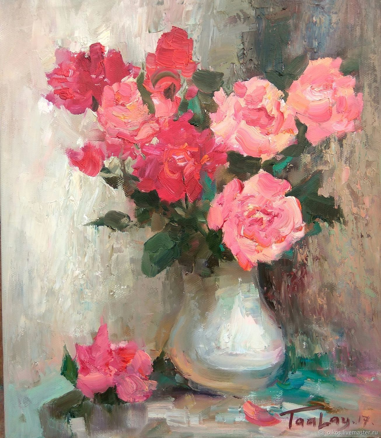Luxury bouquet in a vase with pink flowers etude the classical flower paintings handmade livemaster handmade buy luxury bouquet in a vase with pink mightylinksfo