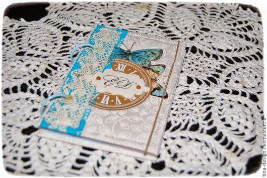 """Блокноты ручной работы. Ярмарка Мастеров - ручная работа. Купить Блокнот """"Время бабочек"""". Handmade. Голубой, подарок, блокнот в подарок"""