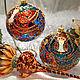 Коллекционный набор стеклянных елочных игрушек `Райский сад` с витражной росписью. Стеклянный елочные шары и елочная верхушка.