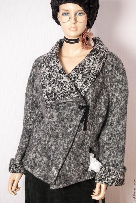 Пиджаки, жакеты ручной работы. Ярмарка Мастеров - ручная работа. Купить Жакет шерсть  ,,Осеннее настроение,.. Handmade. Темно-серый
