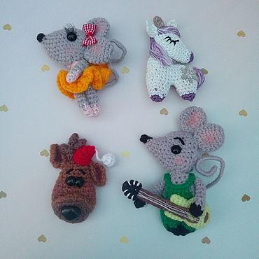 Куклы и игрушки ручной работы. Ярмарка Мастеров - ручная работа Мышь брошь, магнит, брелок. Handmade.
