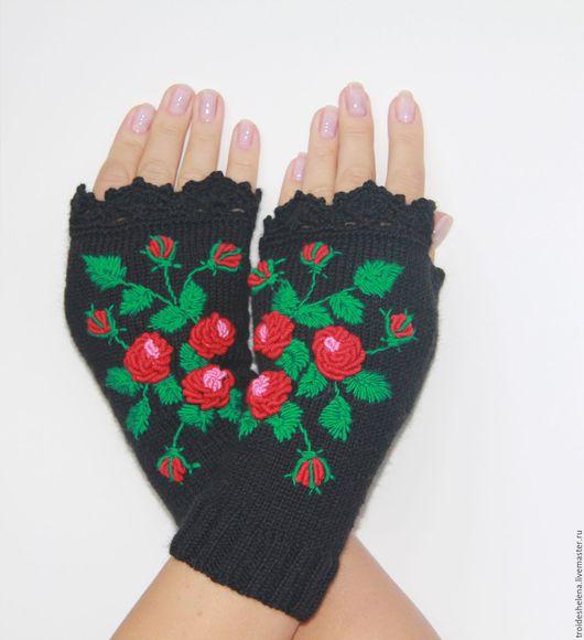 """Варежки, митенки, перчатки ручной работы. Ярмарка Мастеров - ручная работа. Купить Митенки вязаные """"Цвет розы"""". Handmade. Комбинированный"""
