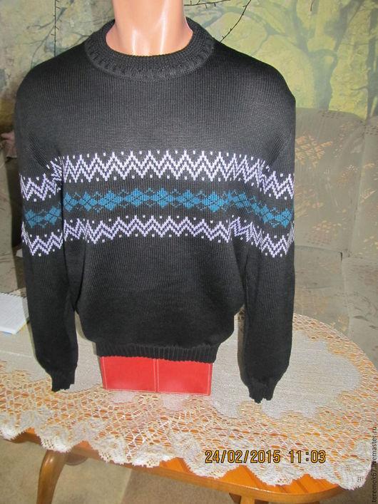 Для мужчин, ручной работы. Ярмарка Мастеров - ручная работа. Купить мужской свитер с жаккардом. Handmade. Черный, свитер вязанный