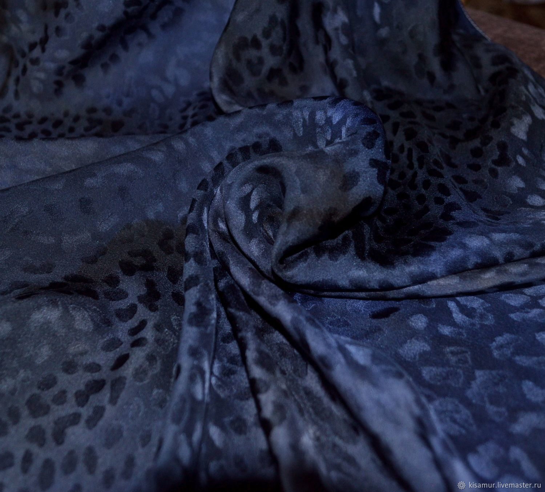 Silk scarf leopard print black gray blue silk jacquard, Shawls1, Vyazma,  Фото №1