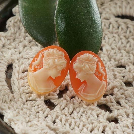 Для украшений ручной работы. Ярмарка Мастеров - ручная работа. Купить Камеи 2шт (зеркальная пара) Дама персиковая 13х18мм. Handmade.