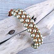 Украшения handmade. Livemaster - original item Swarovski green faux pearl bracelet. Handmade.