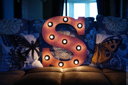 """Освещение ручной работы. Ярмарка Мастеров - ручная работа. Купить Светильник """"Ретро - буква""""  50 см. Handmade. Интерьерный светильник"""