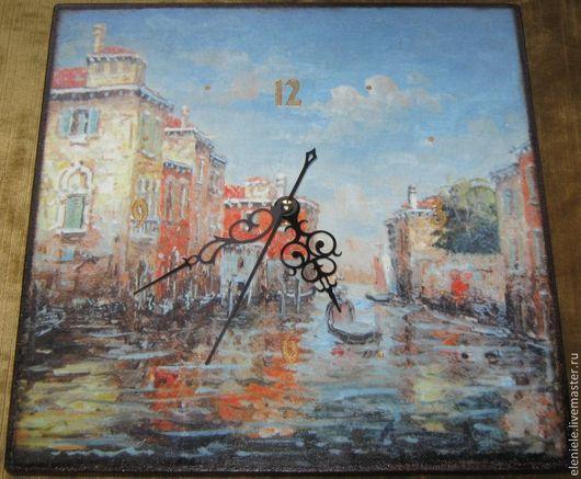 Часы для дома ручной работы. Ярмарка Мастеров - ручная работа. Купить часы Венеция. Handmade. Голубой, подарок на 14 февраля