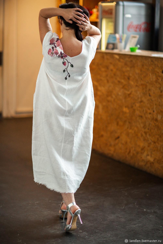 Платья ручной работы. Ярмарка Мастеров - ручная работа. Купить Платье из  льна с авторской ... ad5dc6c0fec