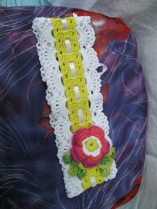"""Шапки и шарфы ручной работы. Ярмарка Мастеров - ручная работа. Купить Ажурная повязка на голову """"Аленький цветочек"""". Handmade."""