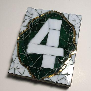 Для дома и интерьера ручной работы. Ярмарка Мастеров - ручная работа Номер для дома из стеклянной мозаики. Handmade.