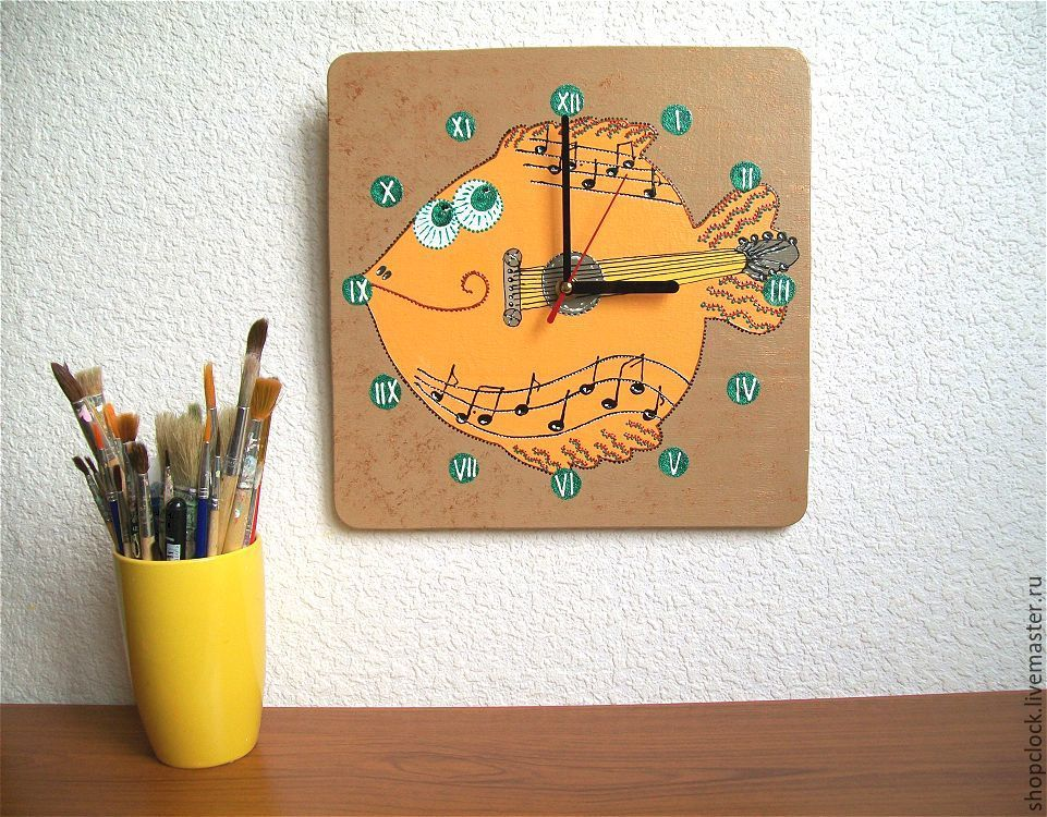 Childrens Wall Clock Wooden Fish Guitar Shop Online On