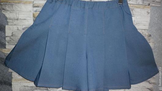 Для подростков, ручной работы. Ярмарка Мастеров - ручная работа. Купить юбка - шорты. Handmade. Тёмно-синий, джинса-стрейч