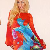 Одежда ручной работы. Ярмарка Мастеров - ручная работа платье-Синий петушок( М.Шагал). Handmade.