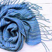 Аксессуары ручной работы. Ярмарка Мастеров - ручная работа Шарф Blue sky меринос/твид    домоткань. Handmade.