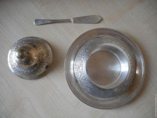 Винтажная посуда. Ярмарка Мастеров - ручная работа. Купить Маслёнка/икорница мельхиор. Handmade. Масленка, мельхиор