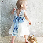 Работы для детей, handmade. Livemaster - original item White-pale blue dress for girls. Very gentle. Handmade.