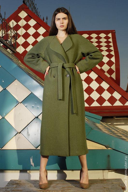 Пальто из валяной шерсти лоден, шерсть 100%,  демисезонное женское на весну, на осень без подкладки зеленое, пальто-халат, необычное