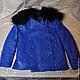 Для подростков, ручной работы. Ярмарка Мастеров - ручная работа. Купить Куртка кожаная детская. Handmade. Тёмно-синий, мех