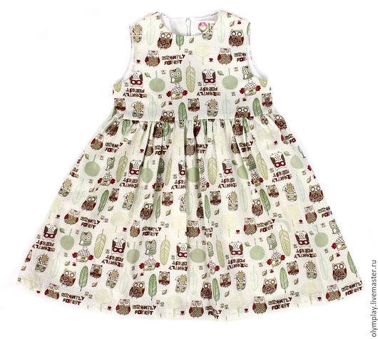 Одежда для девочек, ручной работы. Ярмарка Мастеров - ручная работа. Купить Платье - ручная работа (200382). Handmade. Оливковый, совушки