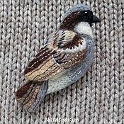 Украшения ручной работы. Ярмарка Мастеров - ручная работа Птица воробей, войлочная брошь. Handmade.