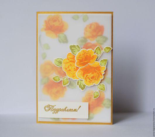 """Открытки для женщин, ручной работы. Ярмарка Мастеров - ручная работа. Купить Открытка """"Желтые розы"""". Handmade. Желтый, открытка с розами"""