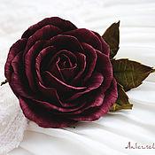 Украшения ручной работы. Ярмарка Мастеров - ручная работа Зажим+брошь для волос с розой цвета марсала. Handmade.