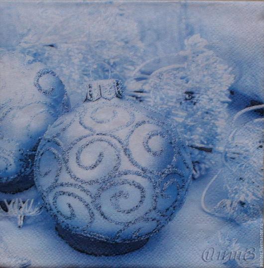 Декупаж и роспись ручной работы. Ярмарка Мастеров - ручная работа. Купить салфетки для декупажа Новогодние шары снежинки декупажный принт. Handmade.