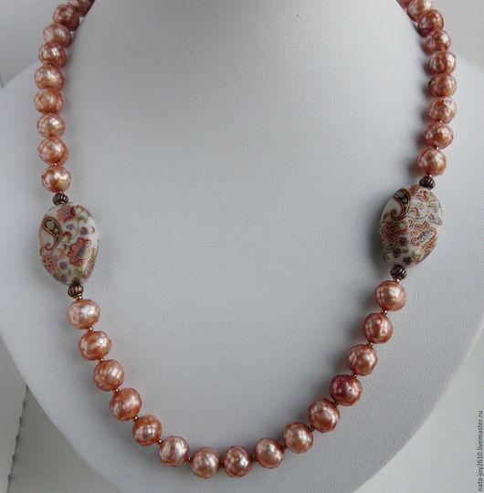 Колье, бусы ручной работы. Ярмарка Мастеров - ручная работа. Купить Ожерелье из  жемчуга. Handmade. Рыжий, бусы жемчуг
