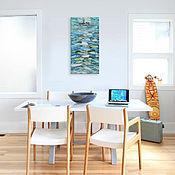 """Картины и панно ручной работы. Ярмарка Мастеров - ручная работа Живопись """"Морская ловля"""" 80х40 см картины маслом мастихином море лодки. Handmade."""