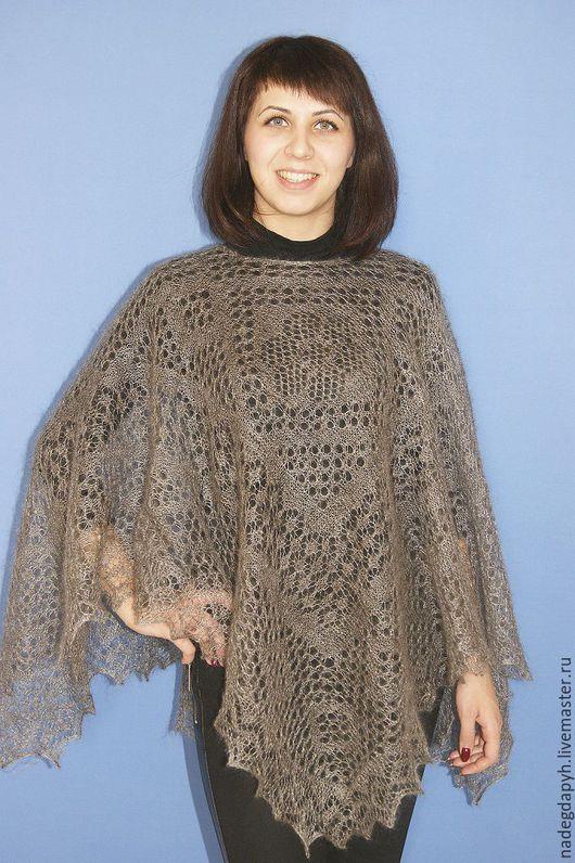 Пончо ручной работы. Ярмарка Мастеров - ручная работа. Купить 127 пончо пуховое вязаное , одежда. Handmade. Серый