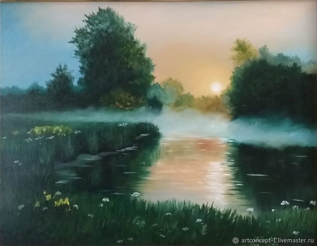 Oil painting landscape 'Morning by the river' author's painting, Pictures, Ryazan,  Фото №1