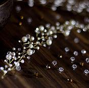 Свадебный салон handmade. Livemaster - original item Wedding sprig for hair gold, ivory. Handmade.