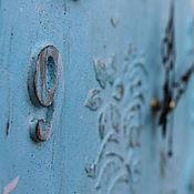 Для дома и интерьера ручной работы. Ярмарка Мастеров - ручная работа большие настенные часы голубая бирюза узор мятный хлопок. Handmade.
