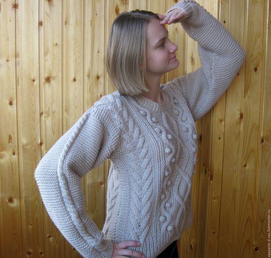 Кофты и свитера ручной работы. Ярмарка Мастеров - ручная работа. Купить Джемпер  вязаный женский  (пуловер) бежевый. Handmade.