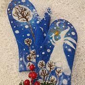 """Варежки ручной работы. Ярмарка Мастеров - ручная работа Варежки: """"Зимний ангел"""". Handmade."""