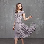 Одежда ручной работы. Ярмарка Мастеров - ручная работа П_028 Платье Переплет , цвет серо-сиреневый. Handmade.