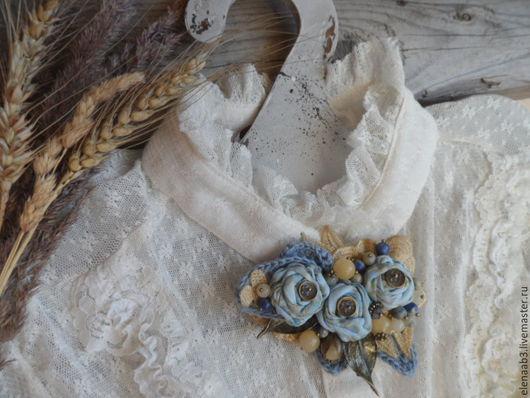 """Броши ручной работы. Ярмарка Мастеров - ручная работа. Купить Брошь""""Небесная"""". Handmade. Голубой, текстильная брошь, текстильное украшение"""