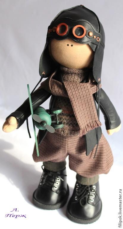 Коллекционные куклы ручной работы. Ярмарка Мастеров - ручная работа. Купить Летчик. Handmade. Коричневый, храбрый, подарок мужчине
