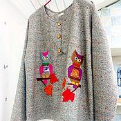 """Одежда ручной работы. Ярмарка Мастеров - ручная работа Джемпер с аппликацией из ткани """"Совята"""". Handmade."""