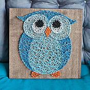 """Картины и панно ручной работы. Ярмарка Мастеров - ручная работа """"Сова"""" в технике String Art. Handmade."""
