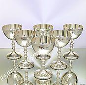 Винтаж ручной работы. Ярмарка Мастеров - ручная работа Фужер рюмка бокал сервиз латунь серебрение 1. Handmade.