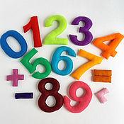 Куклы и игрушки ручной работы. Ярмарка Мастеров - ручная работа Цифры из фетра на магнитах для малышей. Набор цифр для счета.. Handmade.