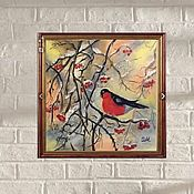 Картины и панно handmade. Livemaster - original item Oil painting bullfinch at the end of winter white red snow. Handmade.